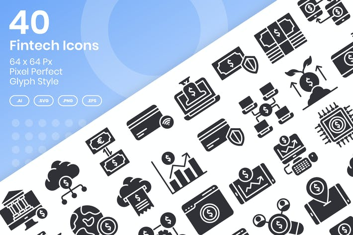 40 Fintech Icons Set - Glyph