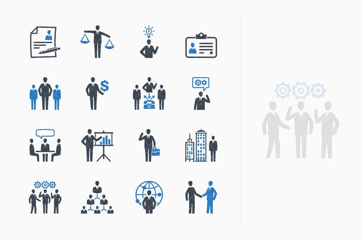 Thumbnail for Business & Management Icons Set 1 - Blue Series