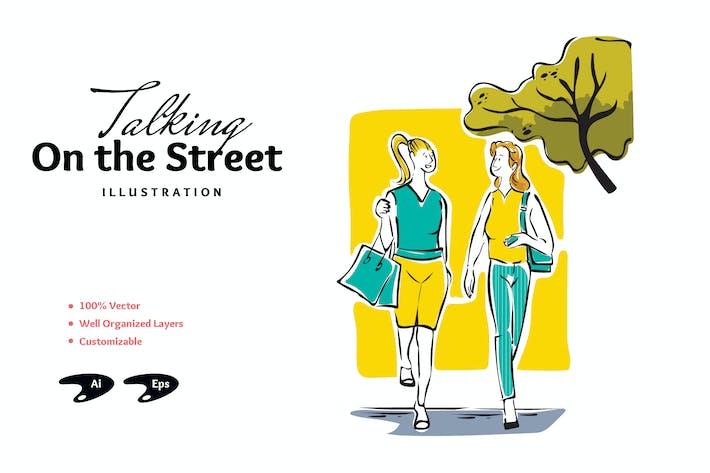 Talking On The Street Illustration