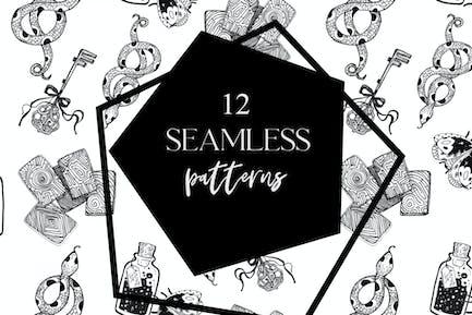 12 seamless ink hand-drawn patterns set