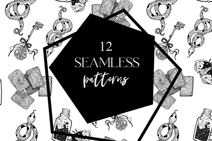 Thumbnail for 12 seamless ink hand-drawn patterns set