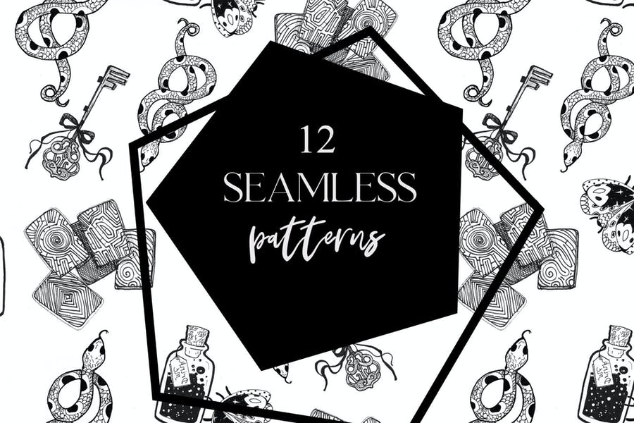 12 seamless ink hand-drawn patterns set  - product preview 0