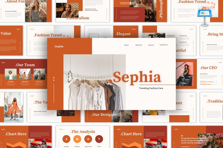 Thumbnail for Sephia - Fashion Care Keynote Template