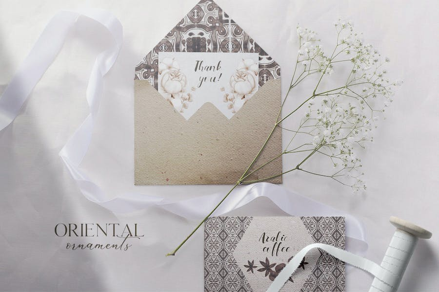 Oriental ortamental watercolor patterns set - product preview 0