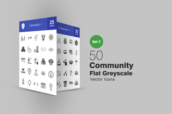 Thumbnail for 50 Community Flat Greyscale Icons