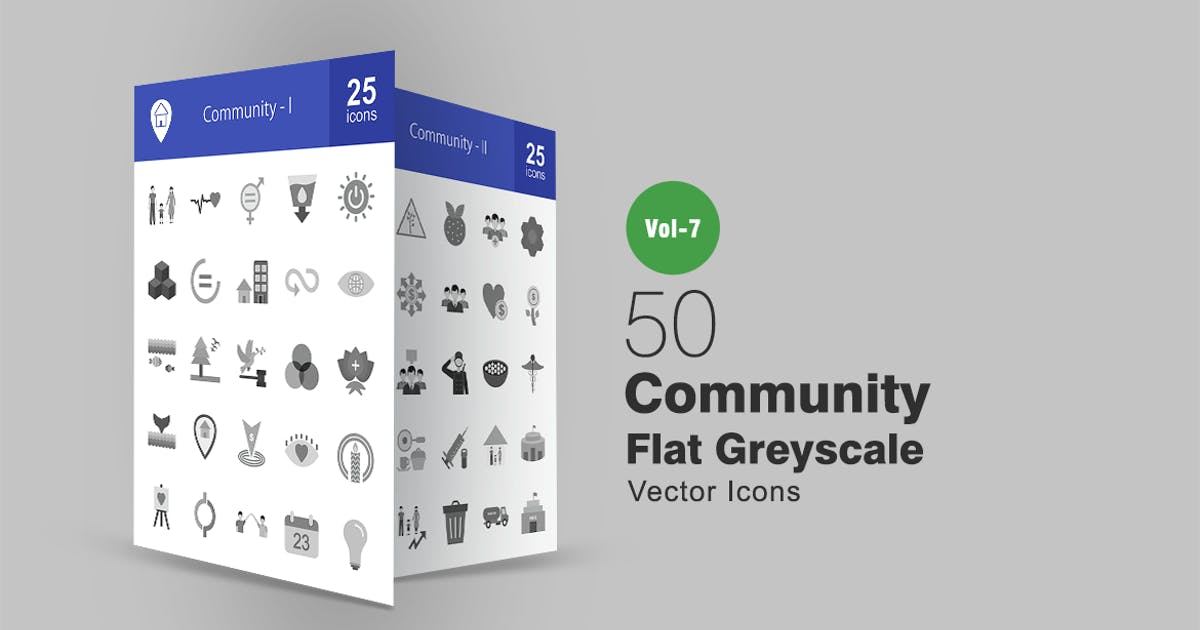 Download 50 Community Flat Greyscale Icons by IconBunny
