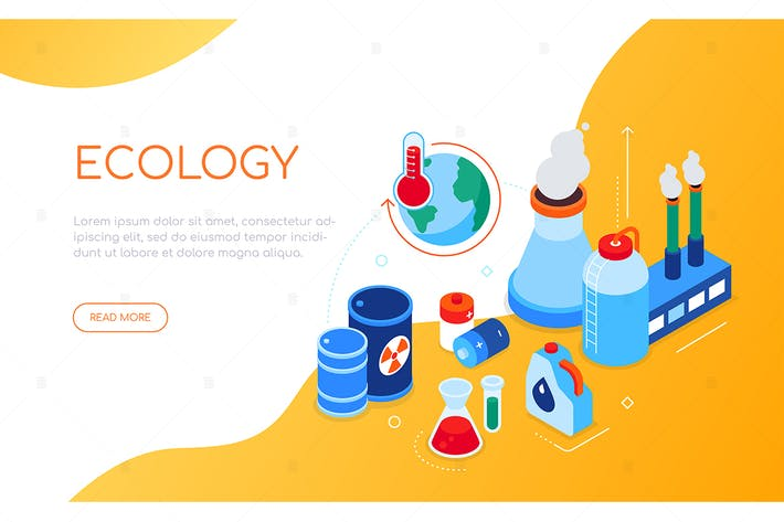 Thumbnail for Ecological problems - colorful isometric banner