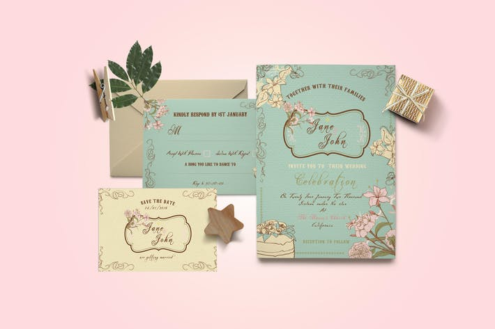 Thumbnail for DIY Vintage Wedding Invitation PSD Template