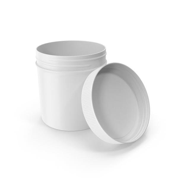 Белый пластиковый банку широкий рот прямой боковой 6 унций открытый