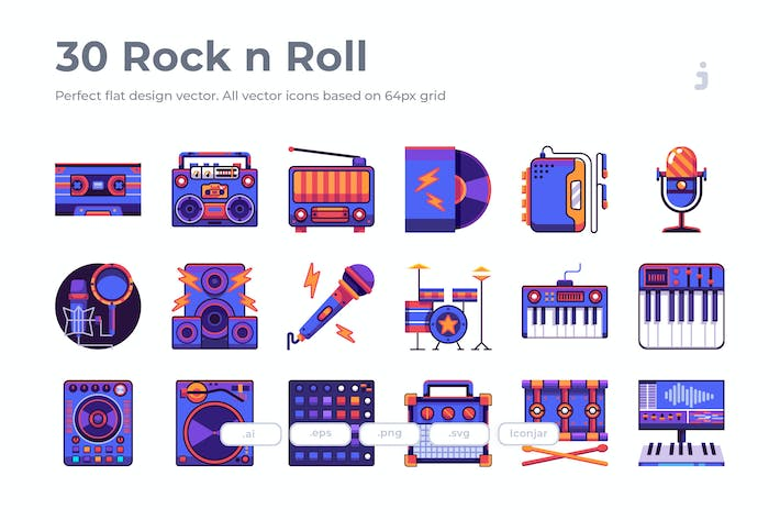 Thumbnail for 30 Rock n Roll Icons - Flat