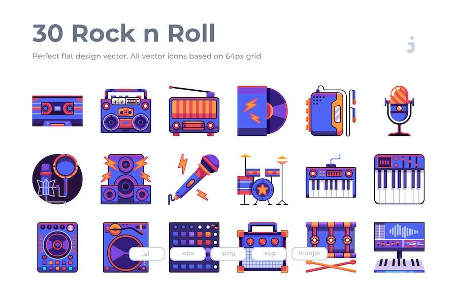 30 Rock n Roll Icons - Flat