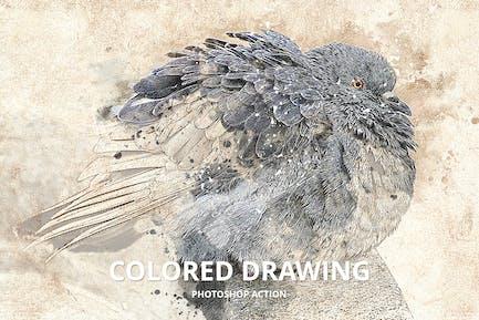 Цветной рисунок Photoshop действие