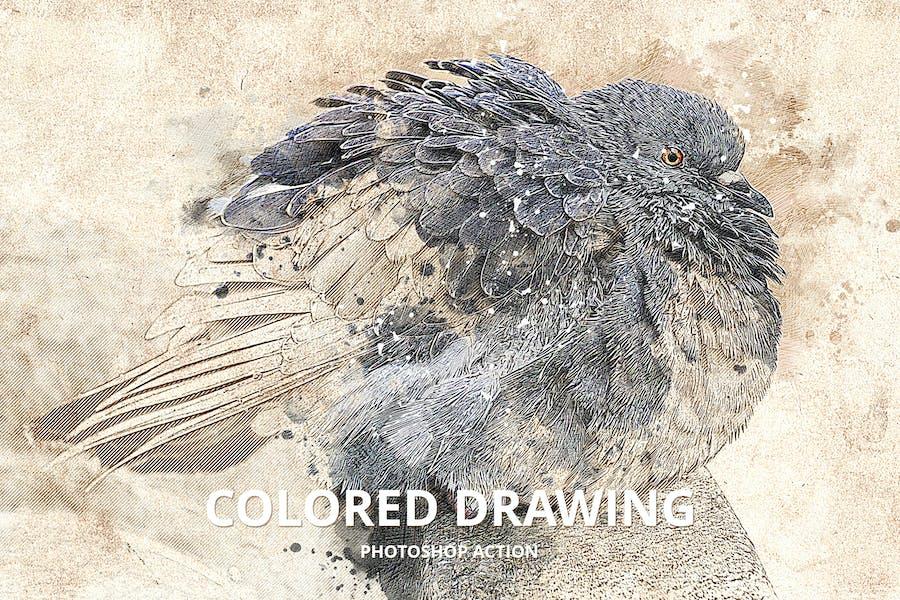 Dibujo coloreado Acción de Photoshop