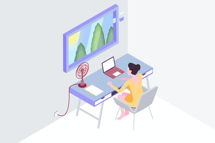 Smart Mirror Workspace Isometric Illustration