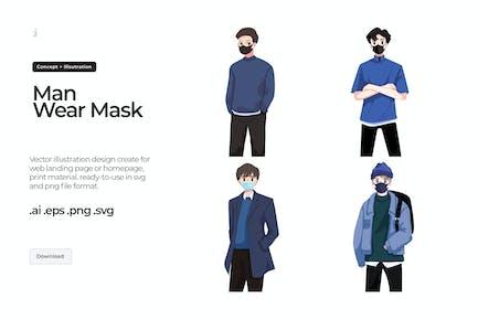 Man Wearing Facemask - Illustration
