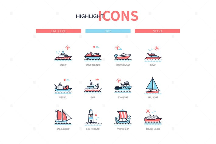 Thumbnail for Different ships - line design style icons set