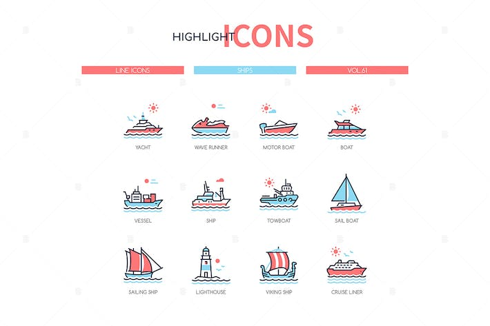 Different ships - line design style icons set