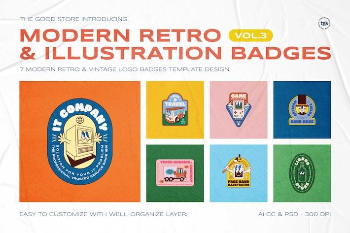 Thumbnail for Modern Retro Illustration Badges Vol.3