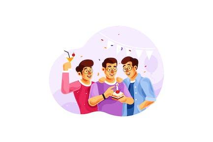 Geburtstag mit Freunden feiern Illustration
