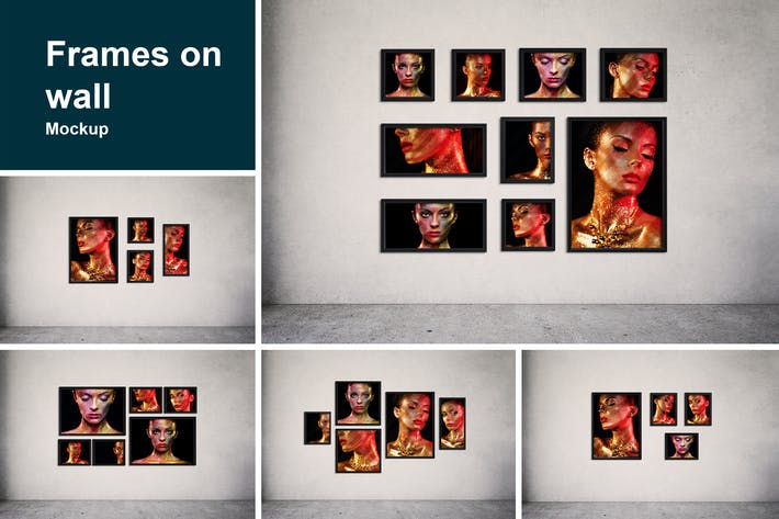 Thumbnail for Frames on wall Mockup