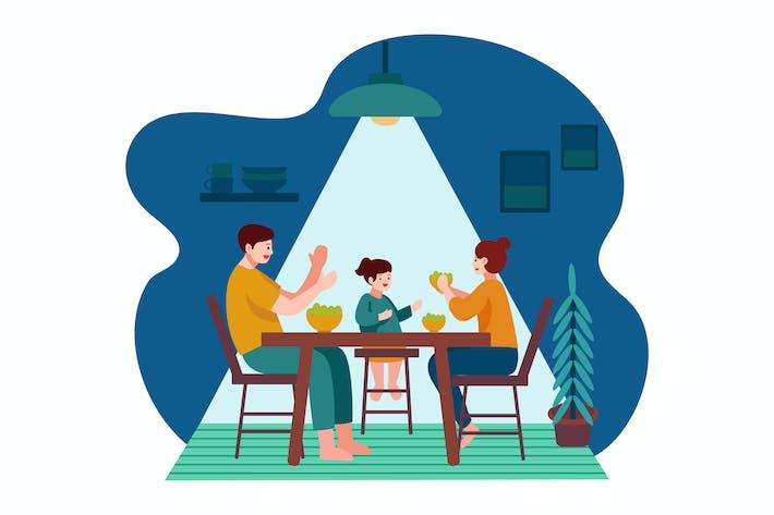 Thumbnail for Eating dinner with family