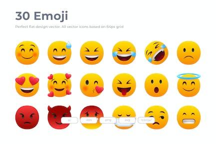 30 Emoji Icons - Flach