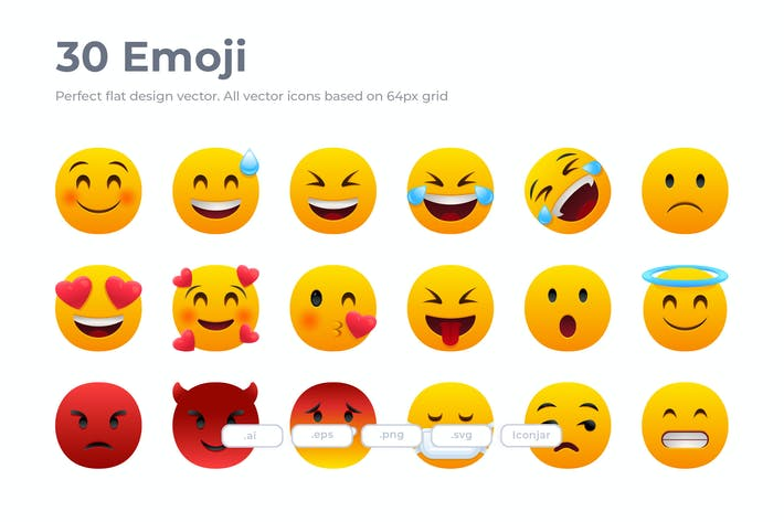 30 Emoji Icons - Flat
