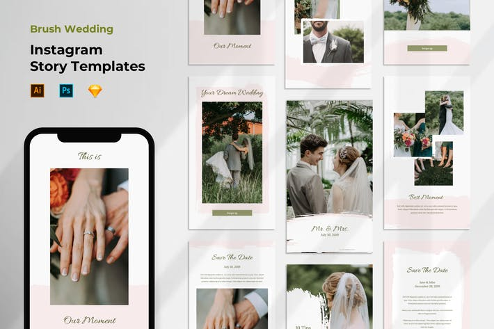 Thumbnail for Instagram Stories Template Wedding Brush