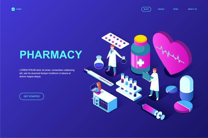Cover Image For Pharmacy Isometric Landing Page Template