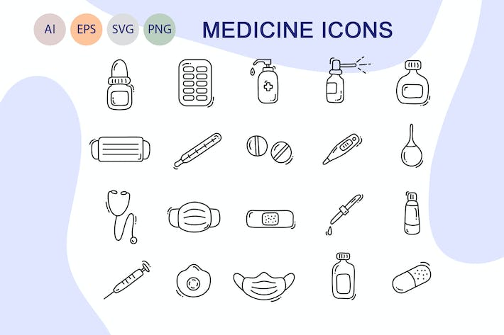 Thumbnail for Medicine line icons