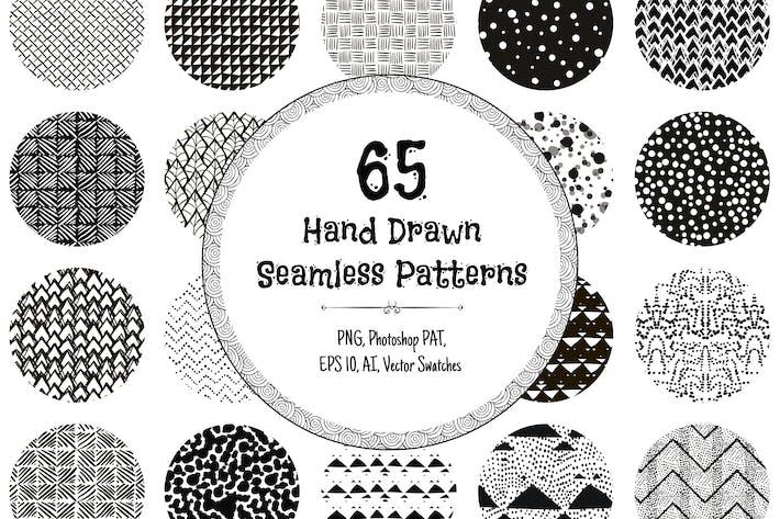 Thumbnail for 65 handgezeichnete nahtlose Muster