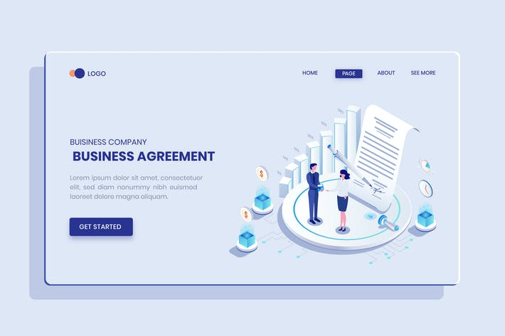 Thumbnail for Business Agreement  Isometric Concept Langding
