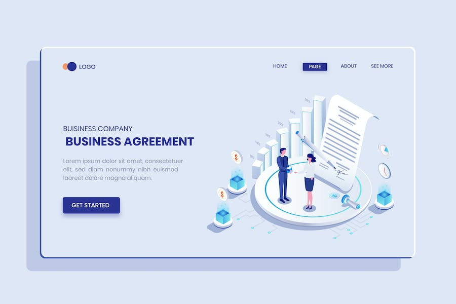 Business Agreement  Isometric Concept Langding