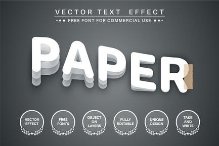 Paper layer- editable text effect,  font style
