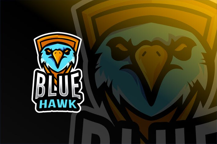 Cover Image For Blue Hawk Esport Logo Template