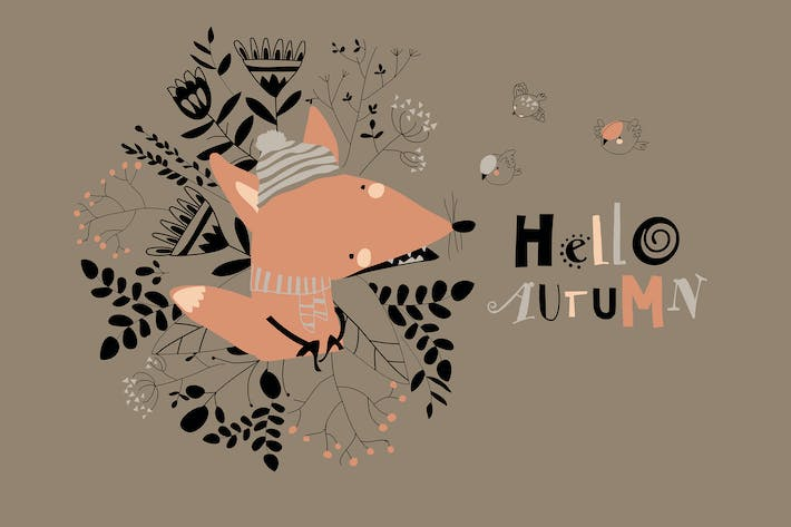 Cartoon little fox with autumn plants and flowers.