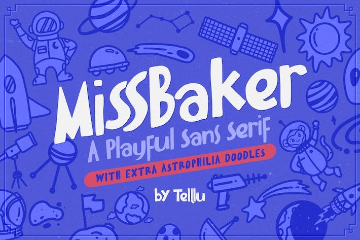 Thumbnail for MissBaker - A Playful Sans Serif + Extra Doodles