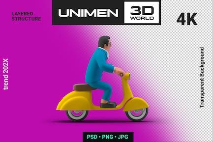 Happy Businessman Riding Bike 3D Illustration