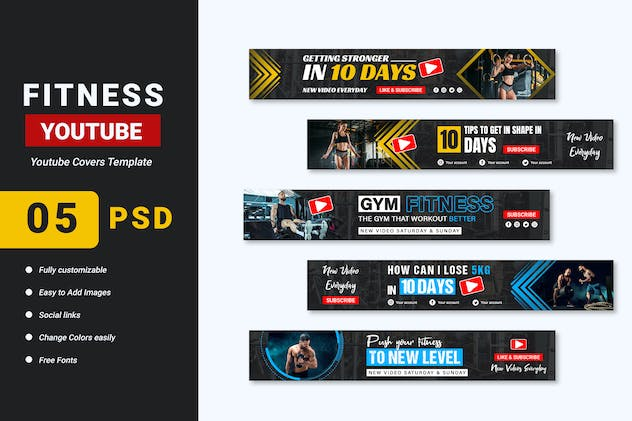 Fitness Gym YouTube Banner Template