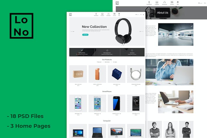 Thumbnail for Lono - Clean, Minimal Shop PSD Template