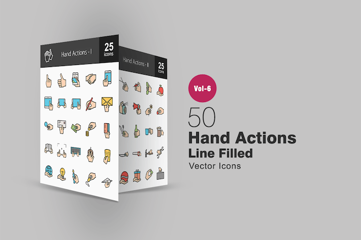Thumbnail for 50 Hand Actions Filled Line Icons