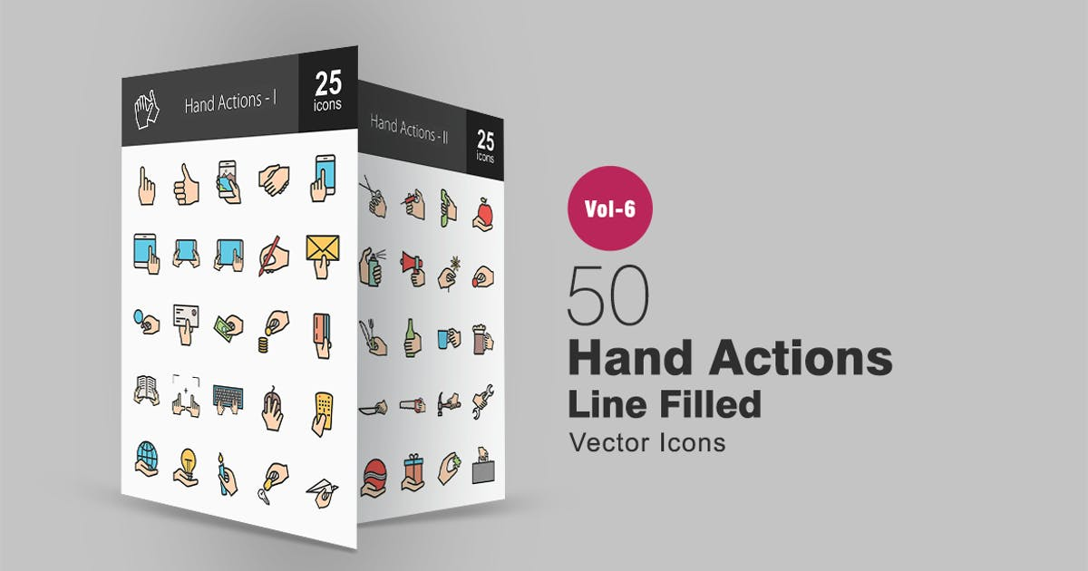 Download 50 Hand Actions Filled Line Icons by IconBunny