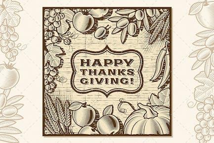 Thanksgiving Retro Card Brown