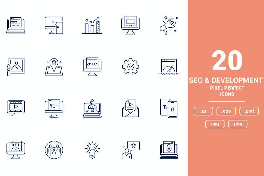 Flat line icons design - Seo and Development