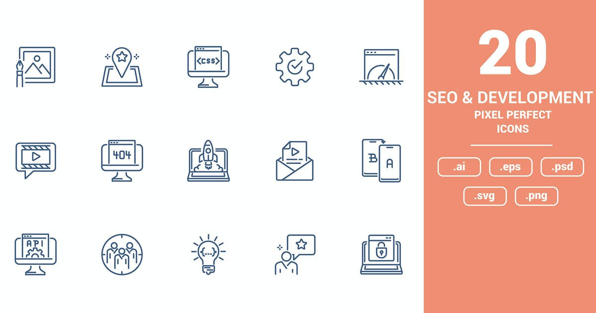 Download Flat line icons design - Seo and Development by graphics4u