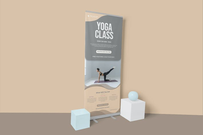 Yoga Class Roll Up Banner Template