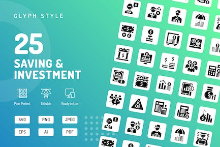Saving & Investmanet Glyph Icons