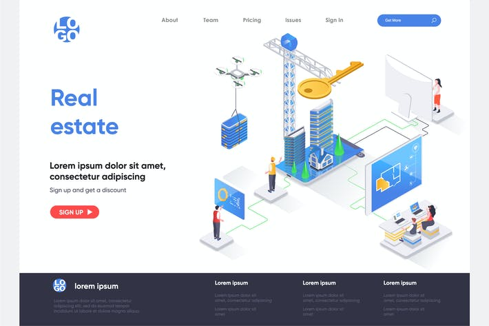 Real Estate Isometric Landing Page Template