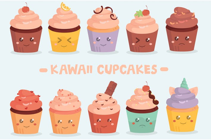 Thumbnail for Kawaii Cupcakes Pack Illustration