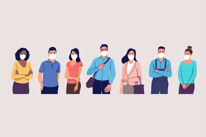 People in Protective Medical Face Masks